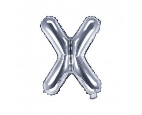 Sølv X bogstav ballon -  ca 35 cm