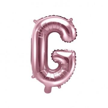Rosa guld G bogstav ballon - ca 35 cm