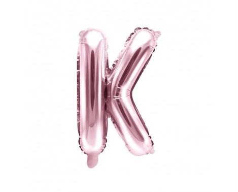 Rosa guld K bogstav ballon - ca 35 cm
