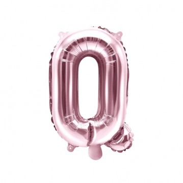 Rosa guld Q bogstav ballon - ca 35 cm