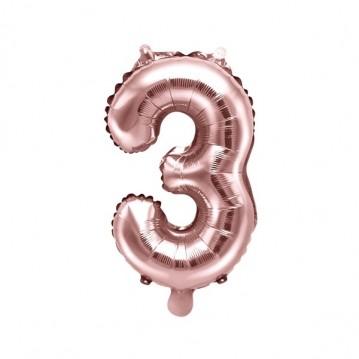 Rosa guld 3 tal ballon - ca 35 cm