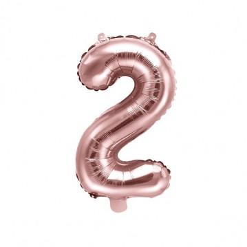 Rosa guld 2 tal ballon - ca 35 cm