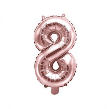 Rosa guld 8 tal ballon - ca 35 cm