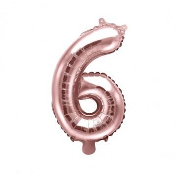 Rosa guld 6 tal ballon - ca 35 cm