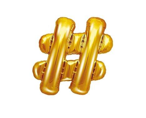 Guld hashtag ballon - ca 35 cm