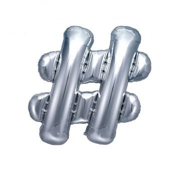 Sølv hashtag ballon - ca 35 cm