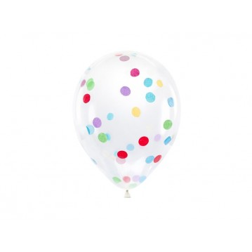 """6 stk. Konfetti balloner mix - str 12"""""""