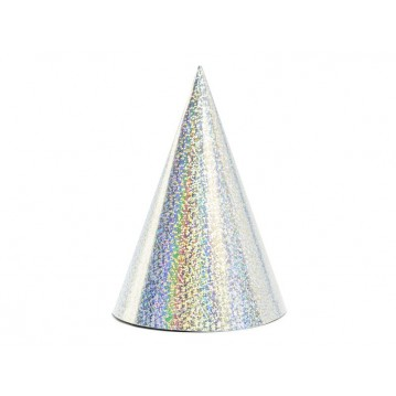 6 stk. Holografisk sølv partyhatte 17 cm