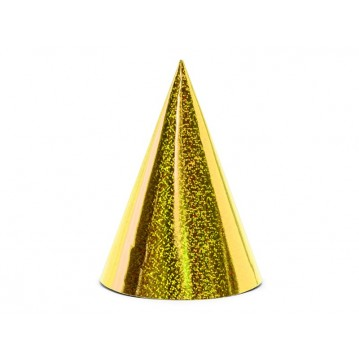 6 stk. Holografisk guld partyhatte 17 cm