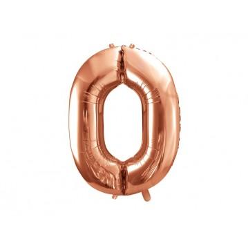 Rose guld 0 tal ballon - ca 86 cm
