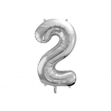 Sølv 2 tal ballon - ca 86 cm