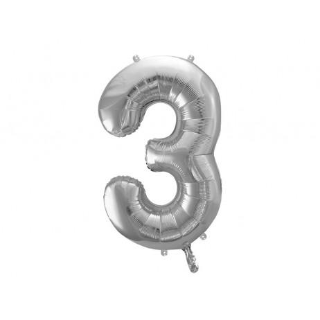 Sølv 3 tal ballon - ca 86 cm
