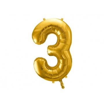 Guld 3 tal ballon - ca 86 cm
