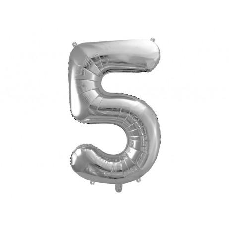Sølv 5 tal ballon - ca 86 cm