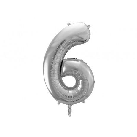 Sølv 6 tal ballon - ca 86 cm