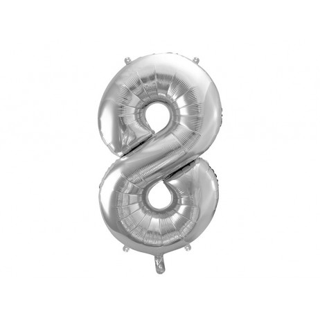 Sølv 8 tal ballon - ca 86 cm