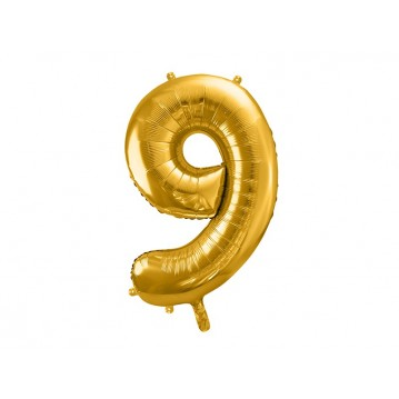 Guld 9 tal ballon - ca 86 cm