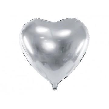 """Sølv hjerte 24"""" folieballoner"""