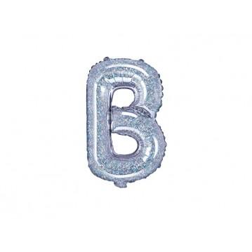 Holografisk B bogstav ballon - ca 35 cm