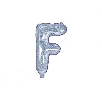Holografisk F bogstav ballon - ca 35 cm