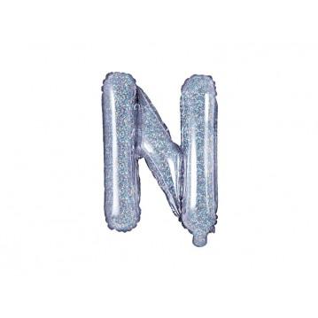 Holografisk N bogstav ballon - ca 35 cm