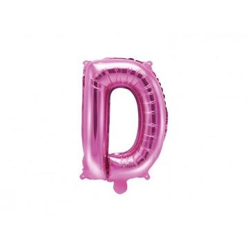 Hot pink D bogstav ballon - ca 35 cm