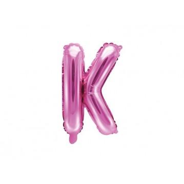 Hot pink K bogstav ballon - ca 35 cm