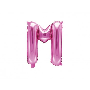 Hot pink M bogstav ballon - ca 35 cm