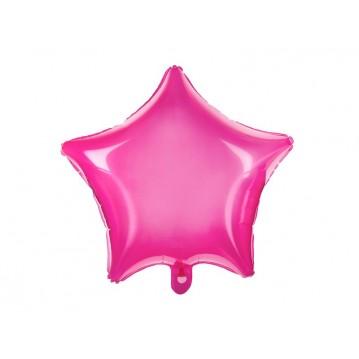 "Neon pink stjerne 18"" folieballon"