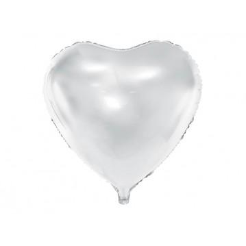 """Hvid hjerte 18"""" folieballoner"""