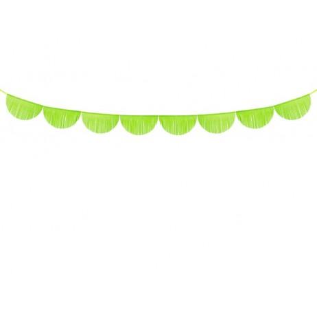 3m Guirlande med bølger af æblegrøn 32cm frynser