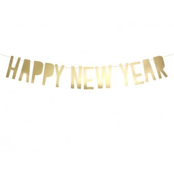 """Banner Happy New Year, gold, 10 x 90 cm"""