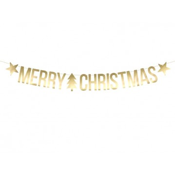 """Banner Merry Christmas, gold, 10.5x150cm"""