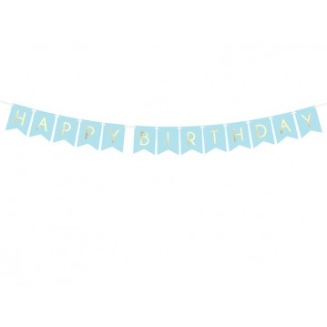 Happy Birthday banner - 175 cm - lyseblå