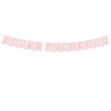 Happy Birthday banner - 175 cm - lyserød