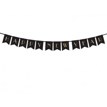 """Banner Happy New Year, black, 15 x 170 cm"""