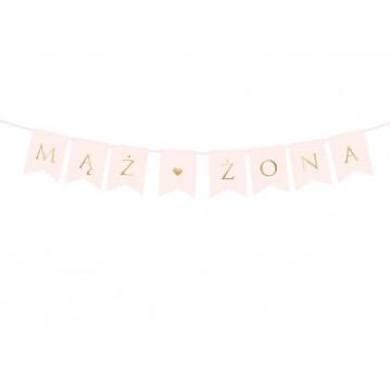 Bryllups banner - Mąż & Żona - Pink 15 x 110 cm