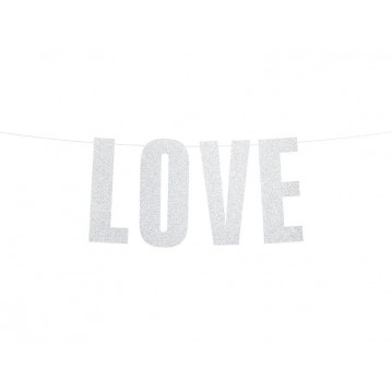 """Banner Love, silver, 21x55cm"""