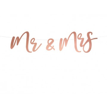 """Banner Mr & Mrs, rose gold, 16.5x68cm"""