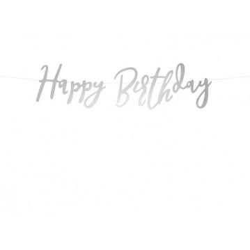 Happy Birthday banner - 62 cm - sølv