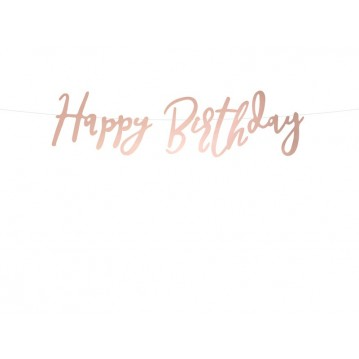 Happy Birthday banner - 62 cm - rose guld