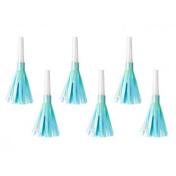6 stk Party horn med lyseblå frynser