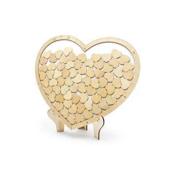 Træ gæstebog - hjerte med 50 hjerter