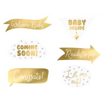 6 Stk. Props - Babyshower- Fotos sticks