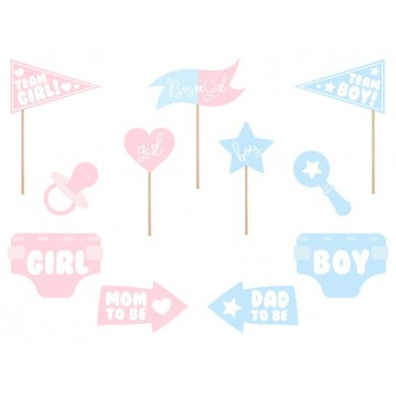 11 Stk. Props - Gender reveal party - Fotos sticks