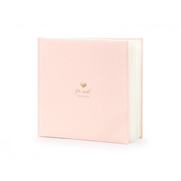 Gæstebog rosa med guld skrift - For sweet memories