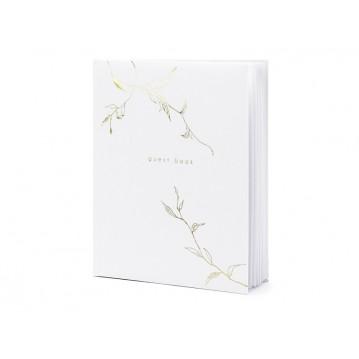 Gæstebog hvid med guld skrift