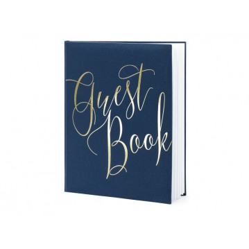 Gæstebog marineblå med snirklende guld skrift