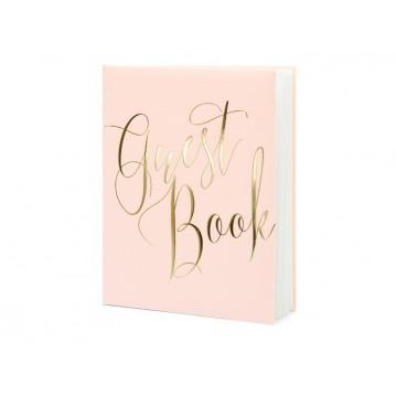 Gæstebog rosa med snirklende guld skrift