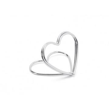 10 stk Bordkortholder hjerte sølv